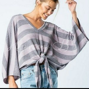Super darling Lavender and gray slub knit top